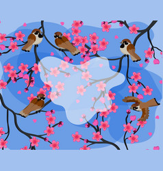 Colorful spring background with sparrows sitting vector