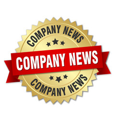 company news round isolated gold badge vector image