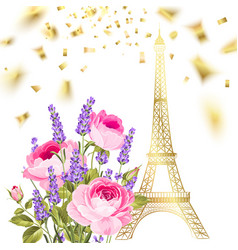 confetti with eiffel tower vector image