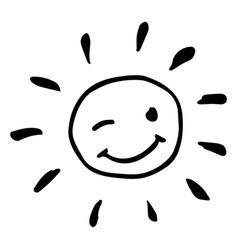 Creative black and white happy winking sun vector