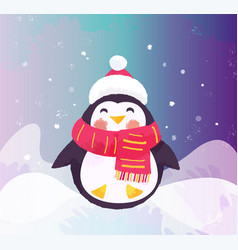 Cute penguin in hat and scarf winter vector
