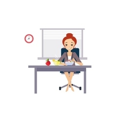 Eating at Work Daily Routine Activities of Women vector