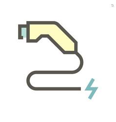 electric car or ev car charging nozzle icon vector image