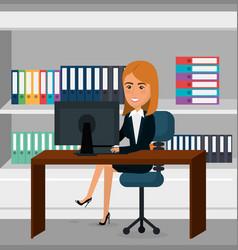 elegant businesswoman in the office scene vector image