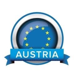 EU flag button with Austria ribbon vector