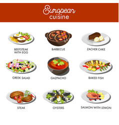 european cuisine food dishes for restaurant vector image