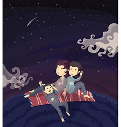 Family watching stars on the hill vector image