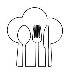 figure chef hat with cutlery inside vector image