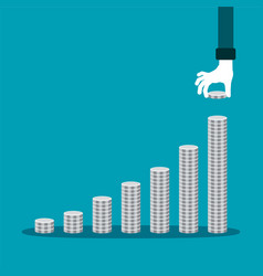 Financial growth concept with stacks of silver vector