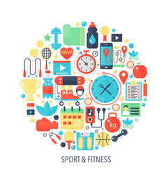 fitness sport flat infographics icons in circle - vector image
