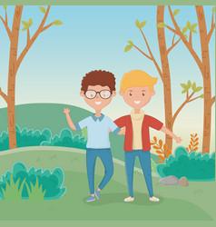 Friendship boys cartoons design vector