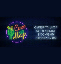 glowing neon sinco de mayo holiday sign with vector image