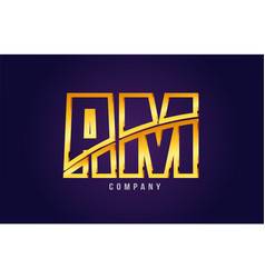 Gold golden alphabet letter am a m logo vector