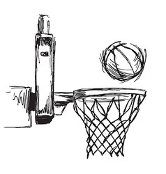 Hand sketch basketball hoop and ball vector