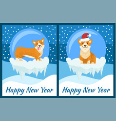 Happy new year congratulation from playing corgi vector