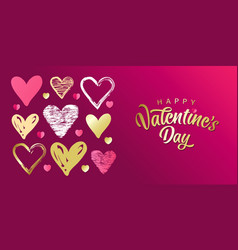 happy valentines day heart lines design vector image