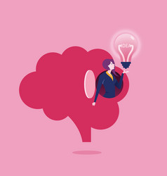 idea - businesswoman holding a bulb vector image