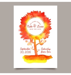 Invitation with watercolor tree vector