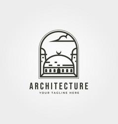 Islamic architecture icon logo line art design vector