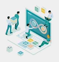 Isometric technology process software vector