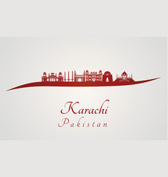 Karachi skyline in red vector