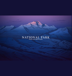 layered mountains banner dark blue landscape and vector image