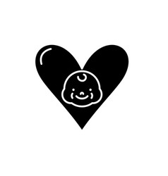 love to child black icon sign on isolated vector image