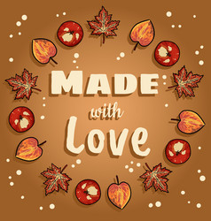 Made with love decorative wreath cute cozy banner vector