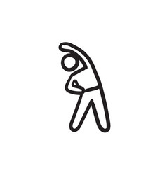 Man making exercises sketch icon vector
