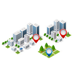 map isometric city of navigator vector image