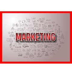 Marketing Concept with Doodle design style vector image