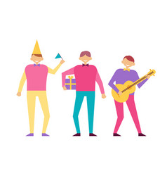 Men on birthday party set of people having fun vector