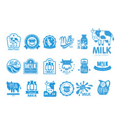 milk natural product logo set dairy product vector image