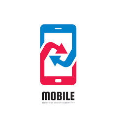 Mobile phone application - logo template vector