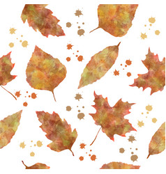 nature seamless pattern with autumn leaves vector image