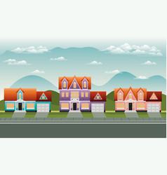 Neighborhood street with houses scene vector