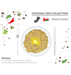 Omani cuisine middle east national dish vector