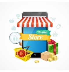 Online Store Mobile Phone Concept vector