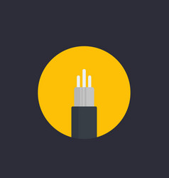 Optic fiber cable icon in flat style vector
