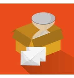 Package hourglass and envelope of delivery design vector