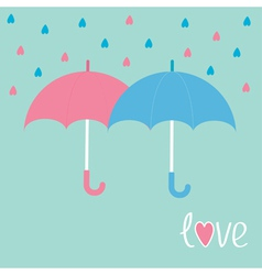Pink and blue umbrellas Rain in shape of hearts Lo vector