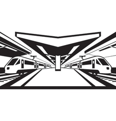 Platform railway station with trains vector