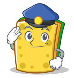 Police sponge cartoon character funny vector