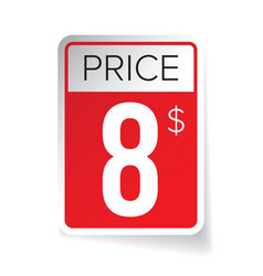 Price Tag sticker - Eight usd vector image