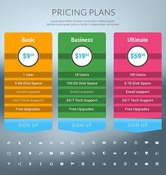 Pricing Table in Flat Design Style for Websites vector image vector image