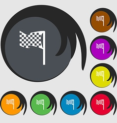 Racing flag icon sign Symbols on eight colored vector