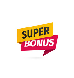 Red and yellow super bonus isolated sticker vector
