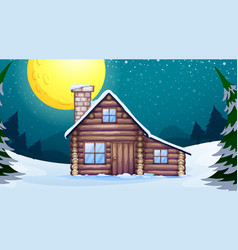 Scene with wooden house in winter vector