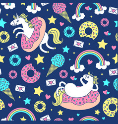 seamless pattern with fun unicorns in donuts vector image