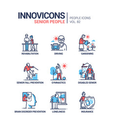 Senior people line design style icons set vector